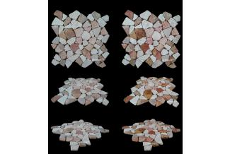 LUX4HOME, MOZAIKI KAMIENNE, MIX WHITE & RED MARBLE MOZAIKA 30X30