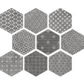 APE CERAMICA, KENDO MIX GREY HEXAGON GRES 23X26  z kolekcji SOFT
