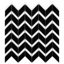 DUNIN BLACK&WHITE PURE BLACK CHEVRON MIX MOZAIKA KAMIENNA  30.5X31